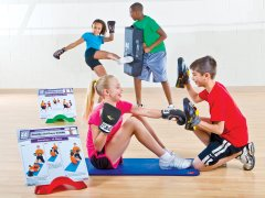 PE class working out with cardio boxing circuit set