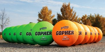 Set of neon green and orange playground balls