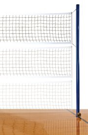 Indoor volleyball net shown at different heights