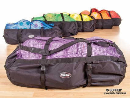 Rainbow set of rolling duffel bags with mesh top