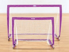 Purple rectangular pop up soccer goals