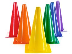 "Rainbow Plastic Cones - 12""H, Set of 6"