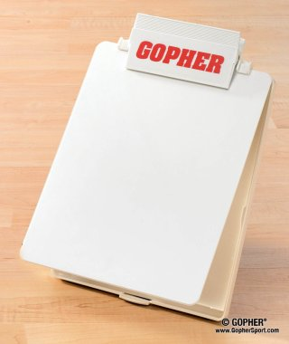 Close up view of white teacher clipboard