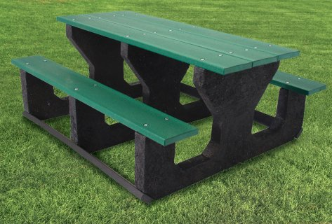 Recycled green and black cedar bench