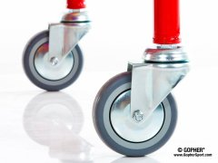 Close up of wheels on red ball cart