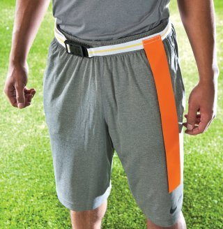 Man with quick release flat belt on