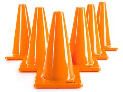 "Vinyl Cone - 12""H, Orange, Set of 6"
