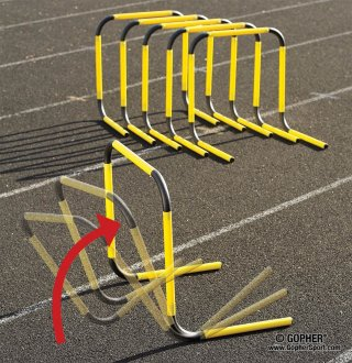 Set of yellow and black rebound track training hurdles
