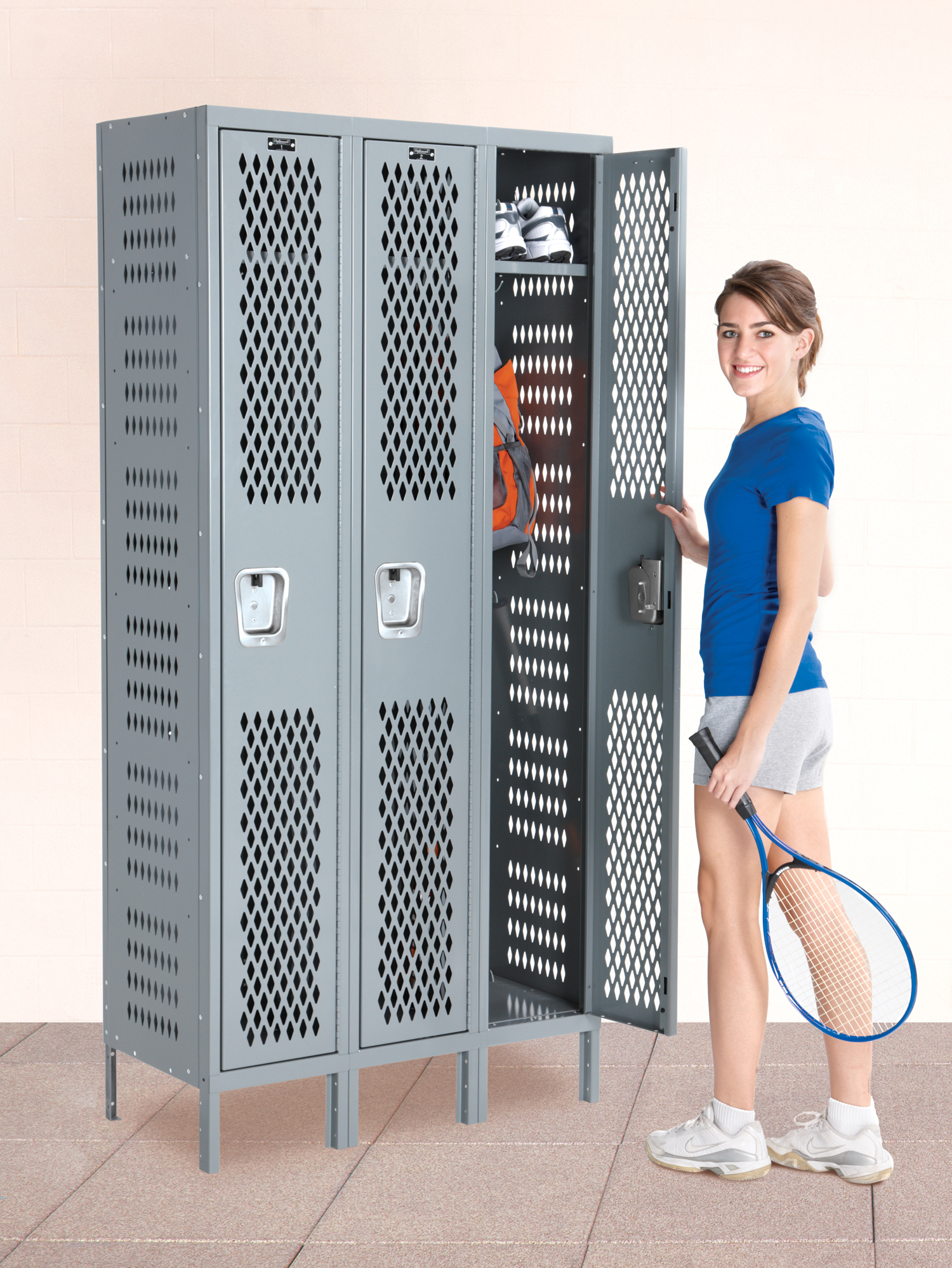 Triple-wide single-tier lockers in hallowell gray color