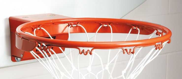 Single-rimmed breakaway basketball net