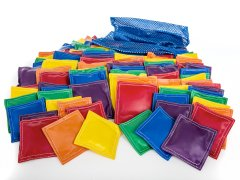 Large set of rainbow colored beanbags