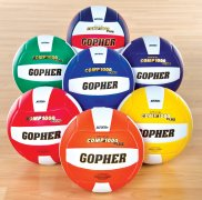 Set of 7 colored comp 1000 volleyballs