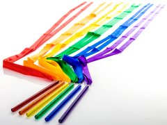 Rainbow colored ribbon wands