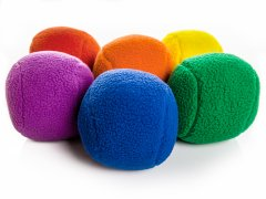 "Rainbow TeddyBall Fleece Balls - 5"" dia, Set of 6"