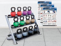 UltraFit TyroBALL Rubber Kettlebell Set w/Stationary Rack