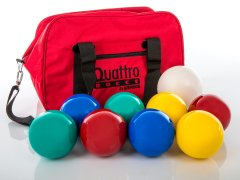 Backyard bocce ball set with red storage bag