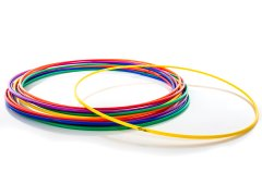 Rainbow set of durable elementary hula hoops