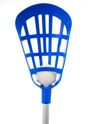 Close up of 40 inch blue lacrosse stick